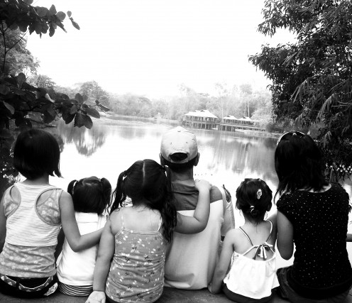 Amaris Briahna, third from left, in April 2011 with her most-loved friends - Ate Nina, Sophie, Lolo, Robyn, and Diosa in a park in the Philipines.