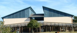 Front view of pavillion. which overlooks the Indian River Bay.