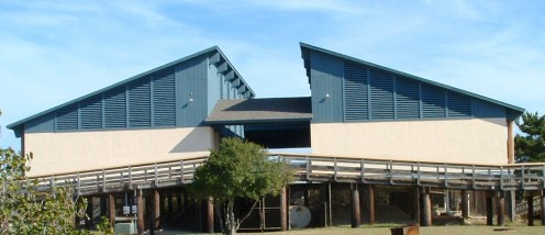 Front view of pavilion. which overlooks the Indian River Bay.