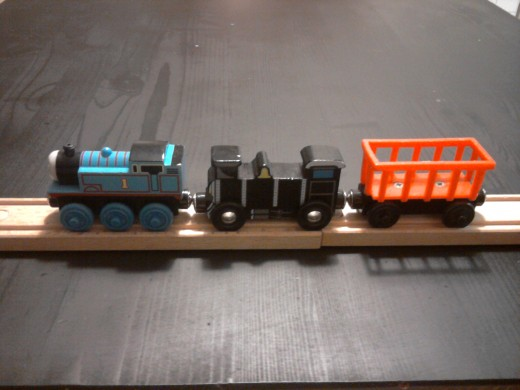 These car sizes are more similar but there are differences in size and style between the brands.  From left to right: Thomas and Friends, Melissa & Doug, Brio