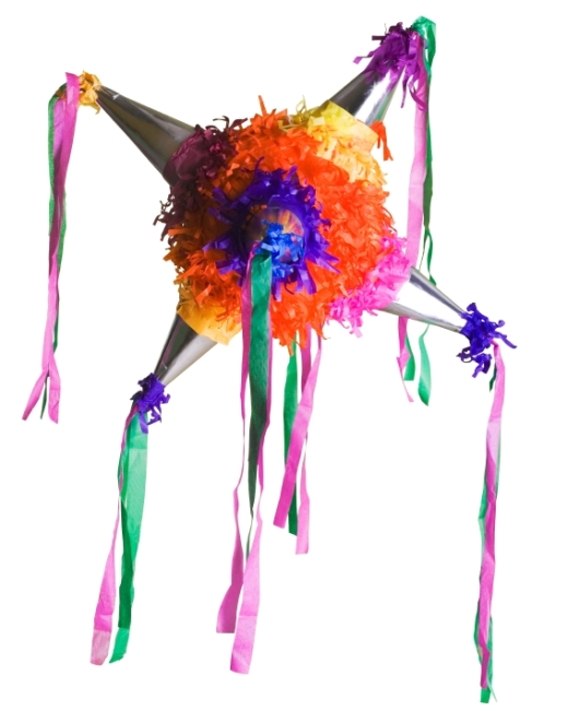 Pinatas in the shape of the Christmas star are a traditional Mexican decoration which also serves later as a party game.