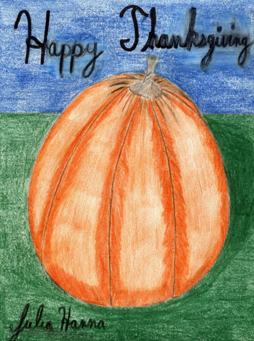 Here is a colored pencil drawing of a pumpkin that I created for my Thanksgiving Day cards.