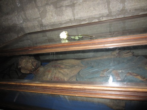 The wooden sculpture of the dead Jesus in the church of St. Mary of the Assumption in Amaseno, Italy
