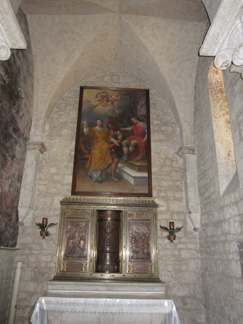 One of the three altars in the church of St. Mary of the Assumption in Amaseno, Italy