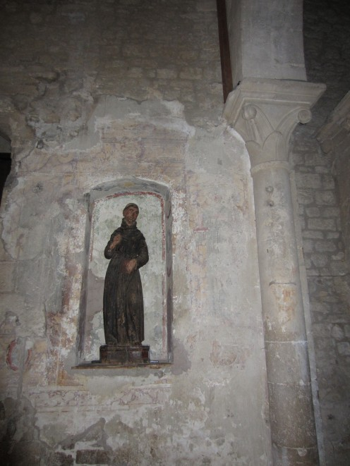 A wooden sculpture of a Saint in the church of st. Mary of the Assumption, Amaseno, Italy