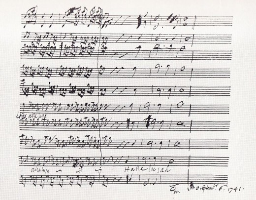 "Handel's score of the ""Hallelujah"" chorus written in his own hand."