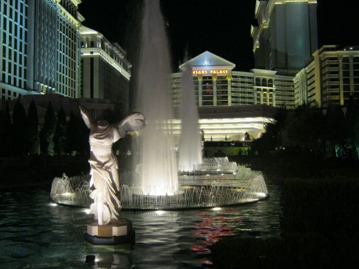 Some of the beautiful statues and fountain in front of Caesar's Palace.