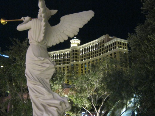 Pretty angel statue at night.