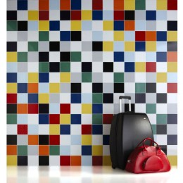 Colourful collage of bathroom tiles