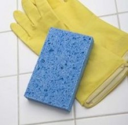 always wear gloves and clean using a soft sponge scrubber