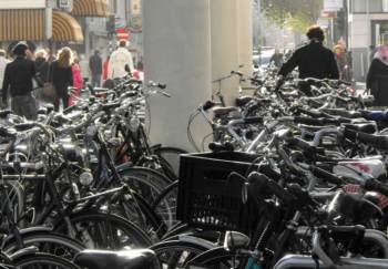 a street in Netherlands full of bike