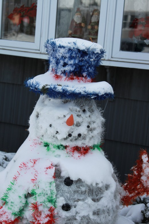 Day after Christmas 2010, snowman decoration covered in snow but he's still smiling!