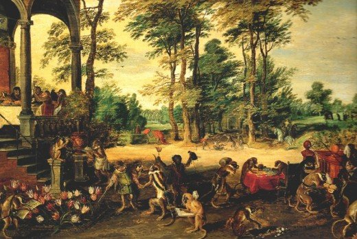 """Persiflage on the tulipomania"", 1637, painting by Jan Breughel the Younger (1601-1678)"