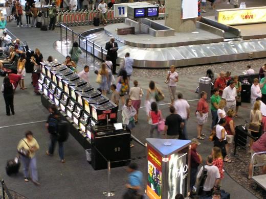 Slot machines at the McCarran Airport, Las Vegas!