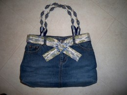 My first denim bag--see the link to my denim handbag hub.  Strangers stop me and ask if I will make them one.  :)