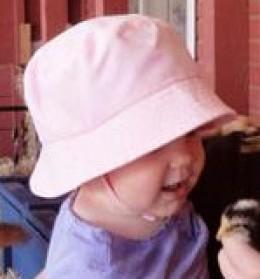 A pink denim hat fits the bill!