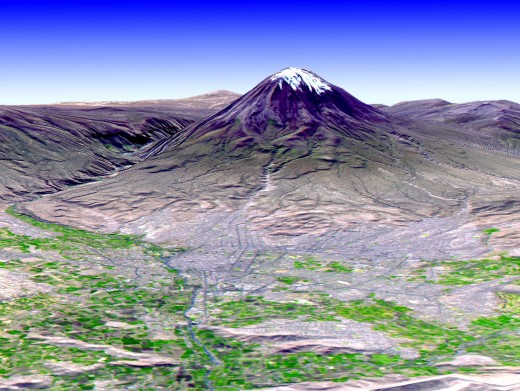 This digital elevation model of the El Misti Volcano in Peru was created using remote sensing techniques.