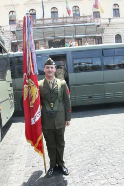 My son prior to Military Parade 2011 in Rome, Italy.  The parade route was packed with appreciative fans!
