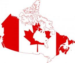 Flag of Canada over country contour