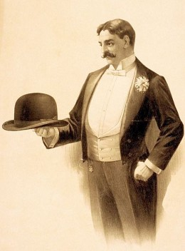 Lithograph poster showing a man wearing a tailcoat and holding a bowler hat (file name incorrectly refers to the coat as a tuxedo)