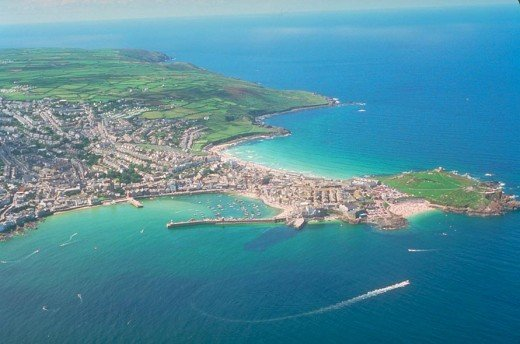 St Ives from the air showing the harbour, Island, Porthgwidden and Porthmeor beaches