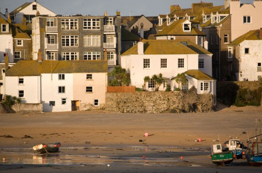 Cottages on the beach in St Ives Harbour