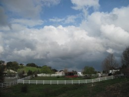 Rain coming to small farm in Templeton, California