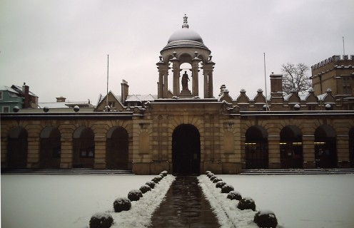 The front quad of The Queen's College, Oxford, under the snow