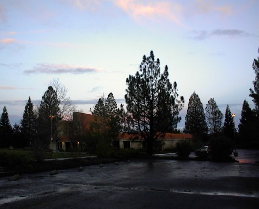 Puddles left in the parking lot of the Templeton Hills Seventh Day Adventist Church after the rain