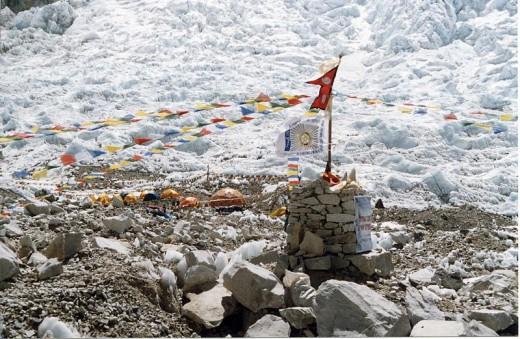 Prayer flags left at Everest's base camp