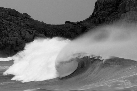 Porthcurno. Not always this gnarly but never an easy option!