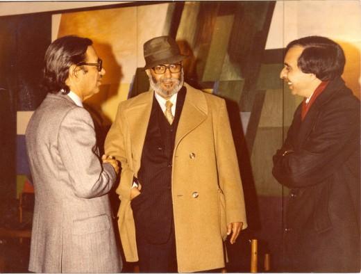 Pakistan's only Nobel Prize winner, Prof. Abdus Salam (in topcoat), Khalid Hasan (r), Altaf Gauhar (l), London 1979.