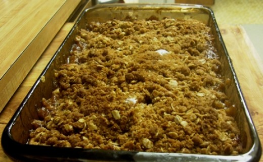 The apple crisp baked to golden brown perfection. Time to eat it up!
