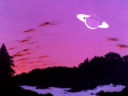 Evening Sky (Painting by Carl Martin. Earth-like planet and ringed moon in the 54 Piscium system.)
