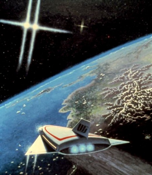 Approach to Valhalla (Painting by Carl Martin. United Starlines ship approaches the surprisingly mature planet Valhalla in the Castor system.)