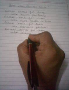 I write with my hand