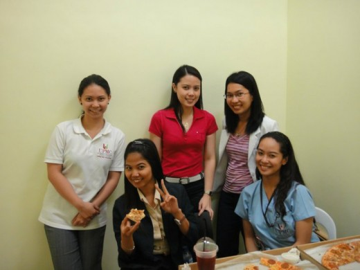 With my former co-workers at the University Physicians Medical Center. I am the one in blue scrubs.