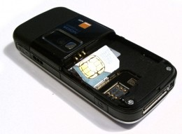 GSM phone with the SIM holder