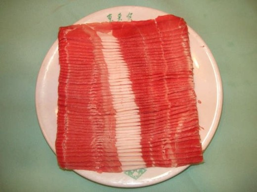thinly sliced lamb