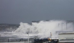 Penzance promenade being lashed by a winter storm