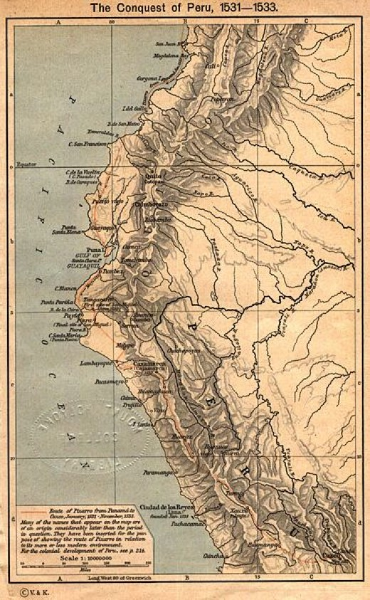 Map Showing Pizarro's Path from Cuzco to Panama
