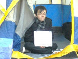 This is an unsung young hero of Occupy Vancouver who has weathered brutal weather, some assaults on the camp and new harsh conditions imposed in an election competition. He is young enough to be ignorant of many of the past struggles and politics.