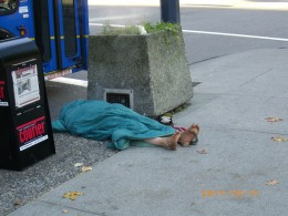 One of the reasons why Occupy Vancouver is present because of a lack of action on homelessness and broken promises going back 30 years, This man was photographed on a street intersection far from the occupation.