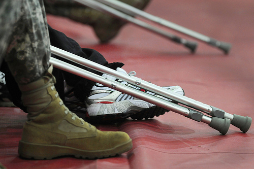 Military boots ... and crutches.