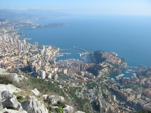 Looking down into Monaco and Monte Carlo from France.