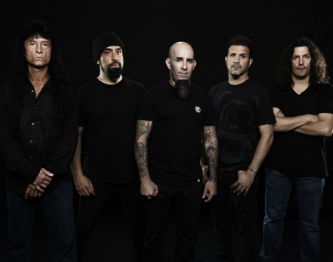 Anthrax 2011: (L-R) Joey Belladonna (vocals), Rob Caggiano (guitar), Scott Ian (guitar), Charlie Benante (drums), Frank Bello (bass)
