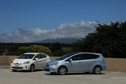 Toyota Prius V (coming in late 2011) next to a  2010 Toyota Prius