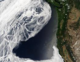 Satellite Image of Boat Exhaust Entering the Atmosphere