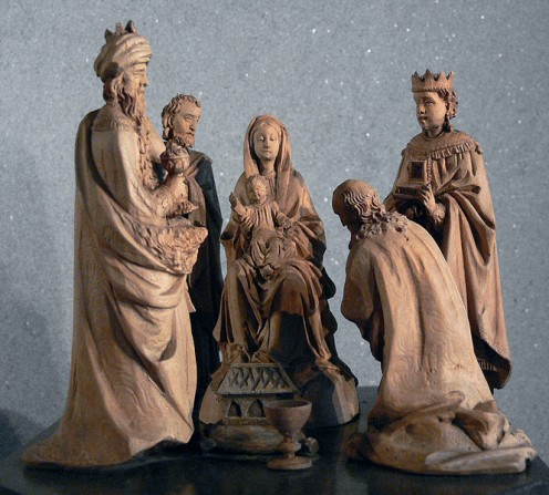 Magi visit the Christ Child. Figures are part of the Oberammergau celebrations and thought to have been produced in 1840 - 1850.