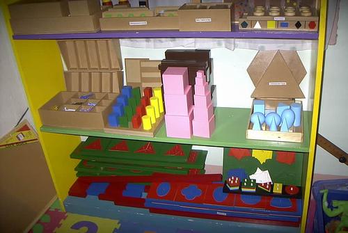 A set of common materials in a Montessori preschool classroom.